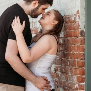 intimate moment between couple